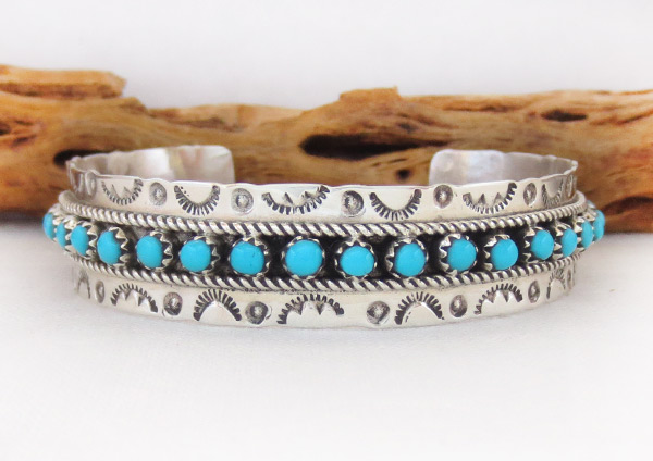 Image 0 of      Turquoise & Sterling Silver Bracelet Zuni Jewelry - 3713dt