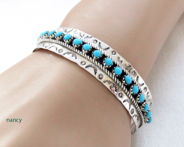 Image 1 of      Turquoise & Sterling Silver Bracelet Zuni Jewelry - 3713dt