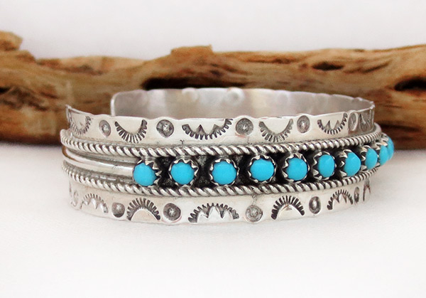 Image 2 of      Turquoise & Sterling Silver Bracelet Zuni Jewelry - 3713dt