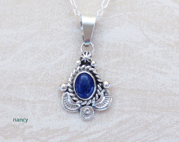 Small Lapis & Sterling Silver Pendant w/Chain Native American Jewelry - 3723sn