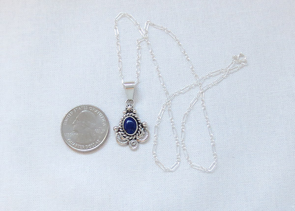 Image 1 of Small Lapis & Sterling Silver Pendant w/Chain Native American Jewelry - 3723sn