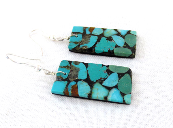 Image 1 of    Large Turquoise Inlay Earrings Santo Domingo Jewelry - 3724rio