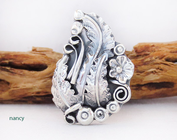 Image 0 of    Navajo Jewelry Sterling Silver Leaf & Flower Ring Sz 8.5 - 3715rb