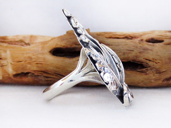 Image 2 of    Navajo Jewelry Sterling Silver Leaf & Flower Ring Sz 8.5 - 3715rb