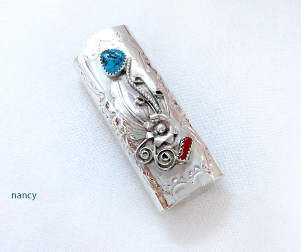 Turquoise Coral & Sterling Silver Lighter Case Native American Made - 4103rb