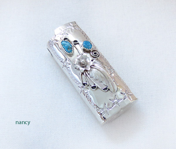 Image 0 of Turquoise & Sterling Silver Lighter Case Native American Made - 4105rb