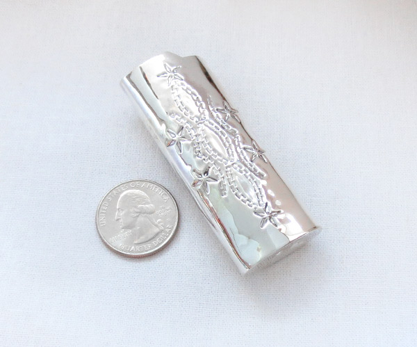 Image 1 of Turquoise & Sterling Silver Lighter Case Native American Made - 4105rb