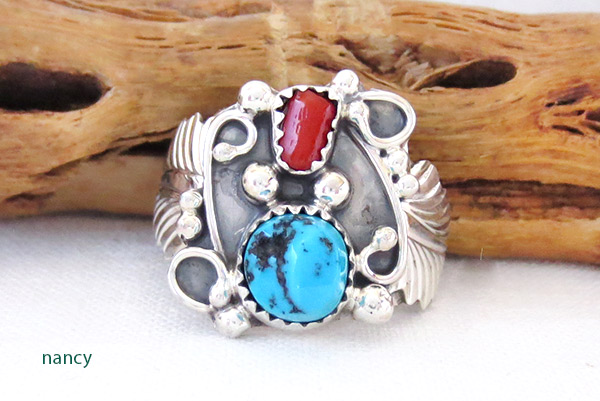 Image 0 of     Turquoise Coral & Sterling Silver Ring Size 10 Navajo Jewelry - 4106rb