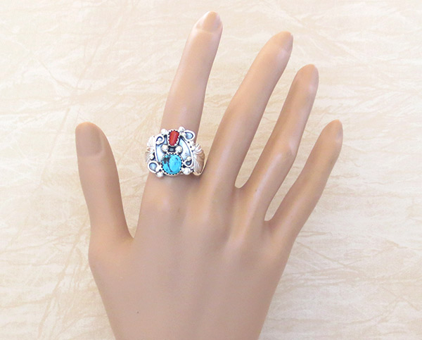 Image 1 of     Turquoise Coral & Sterling Silver Ring Size 10 Navajo Jewelry - 4106rb