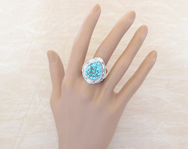 Image 1 of     Turquoise & Sterling Silver Ring Ss 10.5 Native American Jewelry - 3240sn