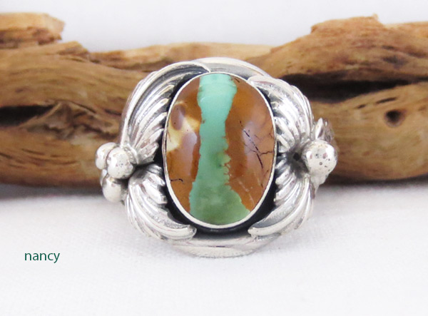 Boulder Turquoise & Sterling Silver Ring Sz 8.75 Navajo Jewelry - 3220sn