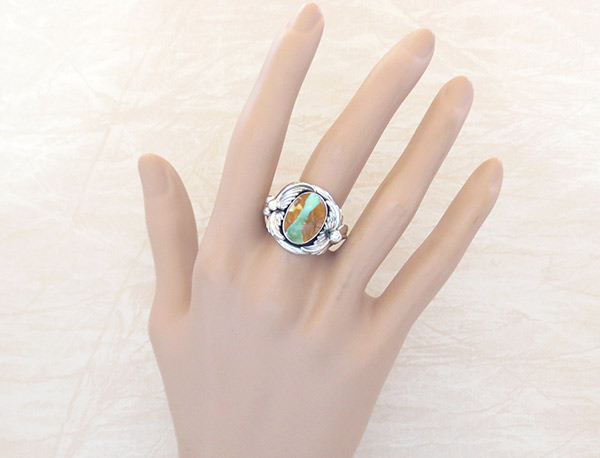 Image 1 of     Boulder Turquoise & Sterling Silver Ring Sz 8.75 Navajo Jewelry - 3220sn