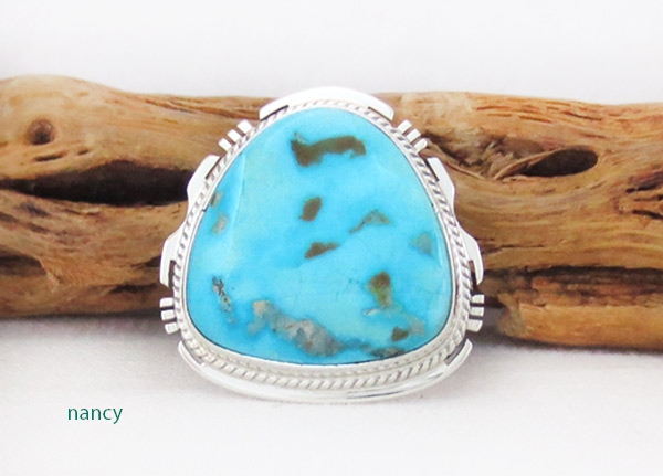 Navajo Jewelry Large Turquoise & Sterling Silver Ring Sz 10 - 4115sn
