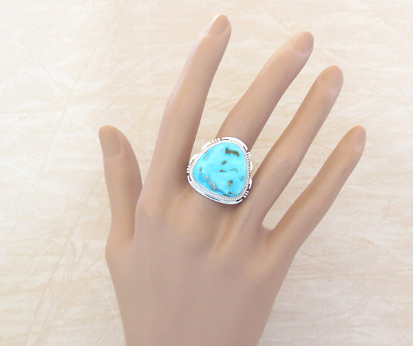 Image 1 of      Navajo Jewelry Large Turquoise & Sterling Silver Ring Sz 10 - 4115sn
