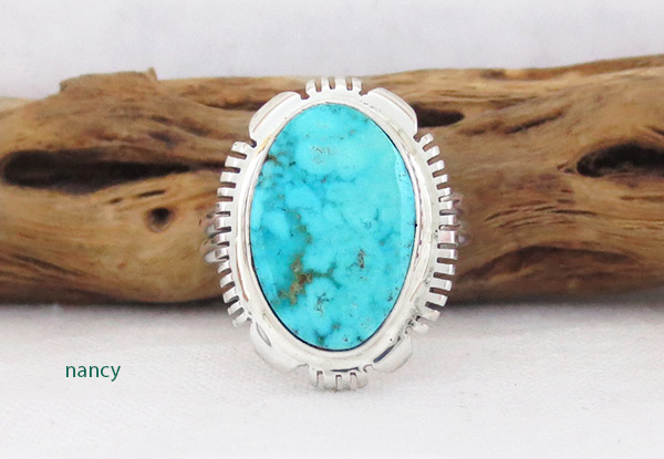Turquoise & Sterling Silver Ring Sz 9.5 Native American Jewelry - 2607at