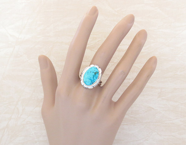 Image 1 of      Turquoise & Sterling Silver Ring Sz 9.5 Native American Jewelry - 2607at
