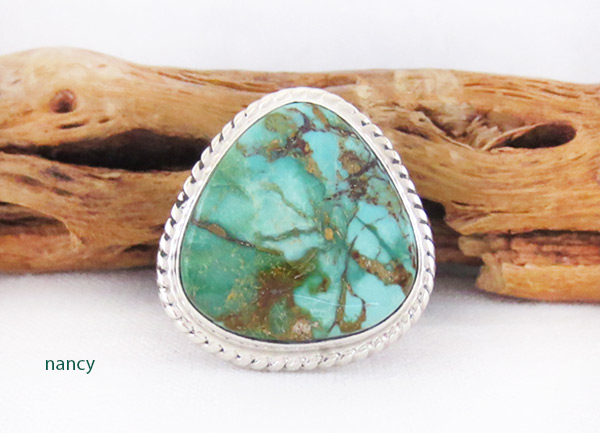 Turquoise & Sterling Silver Ring Sz 10 Native American Jewelry - 2608sn