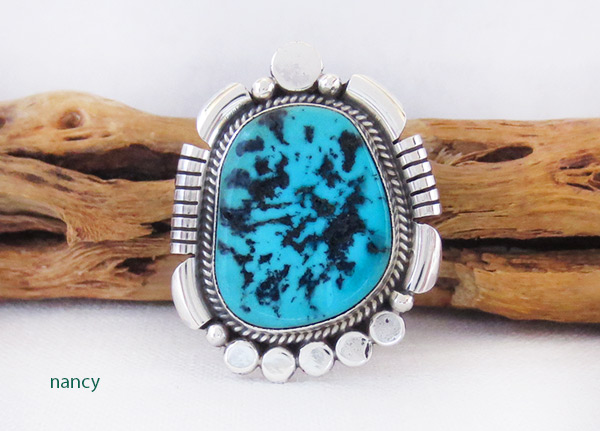 Turquoise Nugget & Sterling Silver Ring Sz 10 Navajo Jewelry - 4113rb
