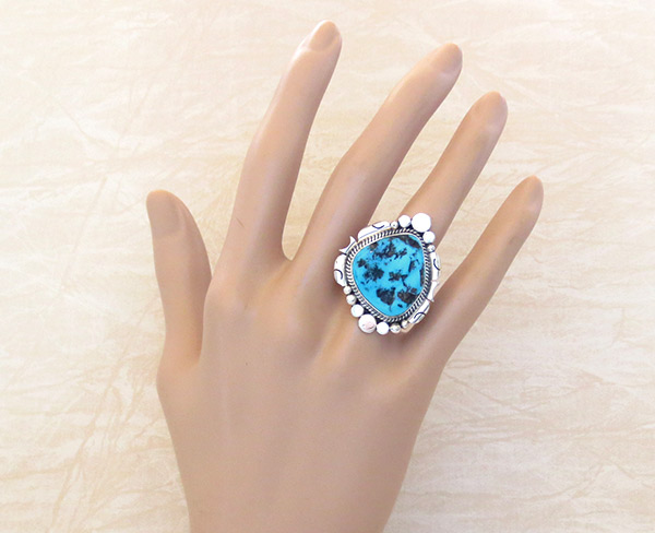Image 1 of    Turquoise Nugget & Sterling Silver Ring Sz 10 Navajo Jewelry - 4113rb