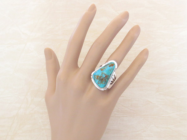 Image 1 of   Native American Jewelry Turquoise & Sterling Silver Ring sz 8.5  - 3305sn