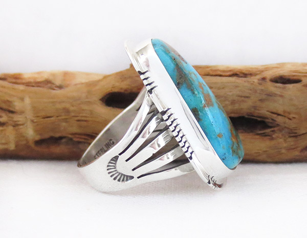 Image 2 of   Native American Jewelry Turquoise & Sterling Silver Ring sz 8.5  - 3305sn