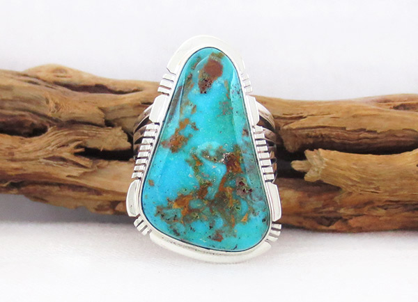 Image 0 of   Native American Jewelry Turquoise & Sterling Silver Ring sz 8.5  - 3305sn