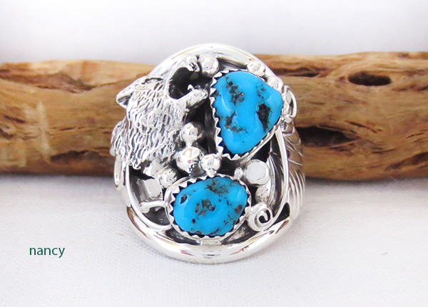 Large Turquoise & Sterling Silver Wolf Ring Size 10 Navajo Jewelry - 4104rb