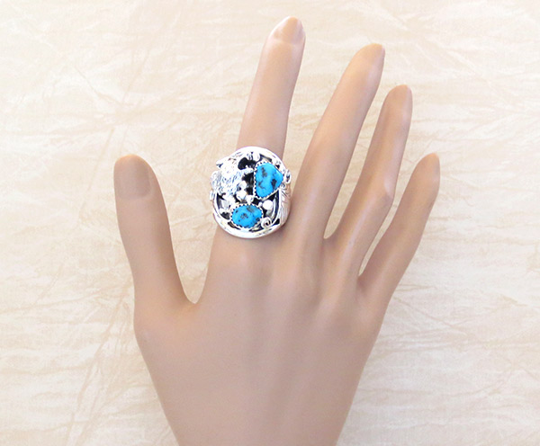 Image 1 of     Large Turquoise & Sterling Silver Wolf Ring Size 10 Navajo Jewelry - 4104rb