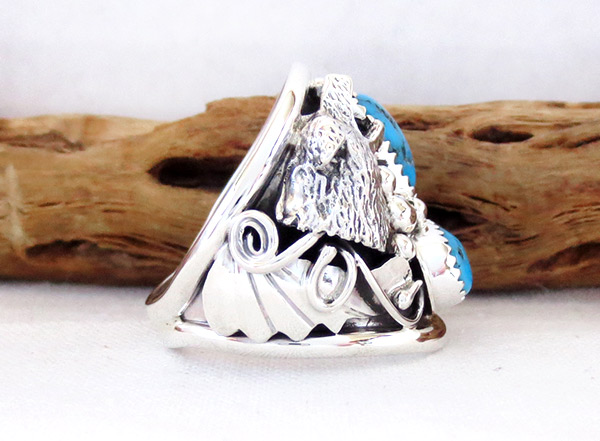 Image 2 of     Large Turquoise & Sterling Silver Wolf Ring Size 10 Navajo Jewelry - 4104rb