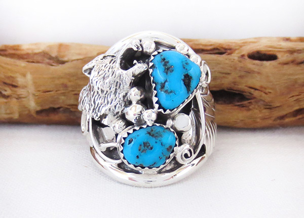 Image 0 of     Large Turquoise & Sterling Silver Wolf Ring Size 10 Navajo Jewelry - 4104rb