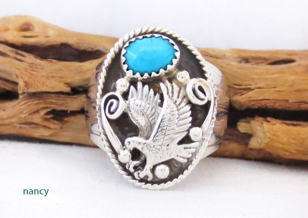 Image 0 of    Turquoise & Sterling Silver Eagle Ring Size 9.75 Navajo Jewelry - 4102rb