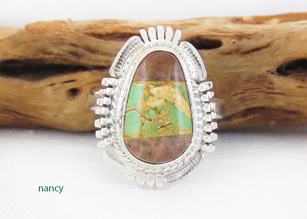 Boulder Turquoise & Sterling Silver Ring Size 9 Navajo Jewelry - 3306sn