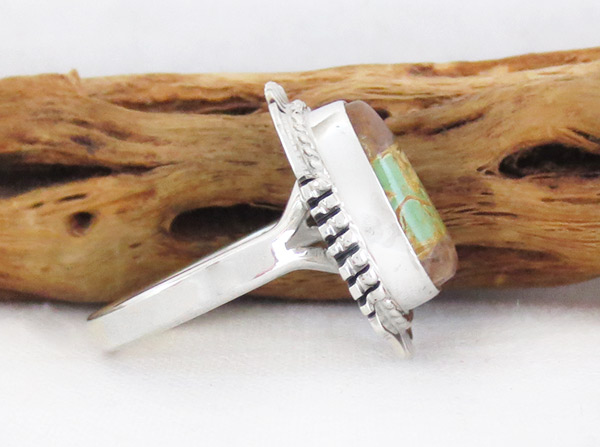 Image 2 of Boulder Turquoise & Sterling Silver Ring Size 9 Navajo Jewelry - 3306sn