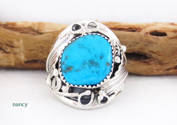 Large Turquoise & Sterling Silver Ring Size 11.75 Navajo Jewelry - 3315rb