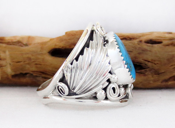 Image 2 of Large Turquoise & Sterling Silver Ring Size 11.75 Navajo Jewelry - 3315rb