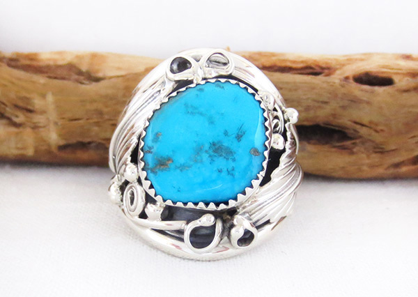 Image 3 of Large Turquoise & Sterling Silver Ring Size 11.75 Navajo Jewelry - 3315rb