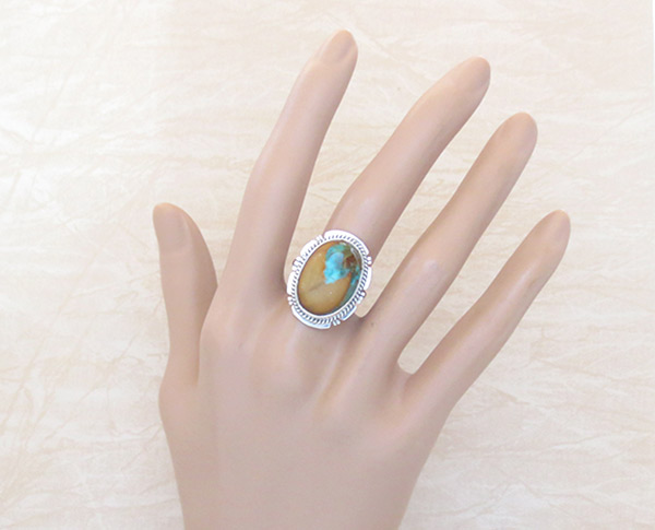 Image 1 of   Boulder Turquoise & Sterling Silver Ring Sz 7 Native American Jewelry - 3318sn