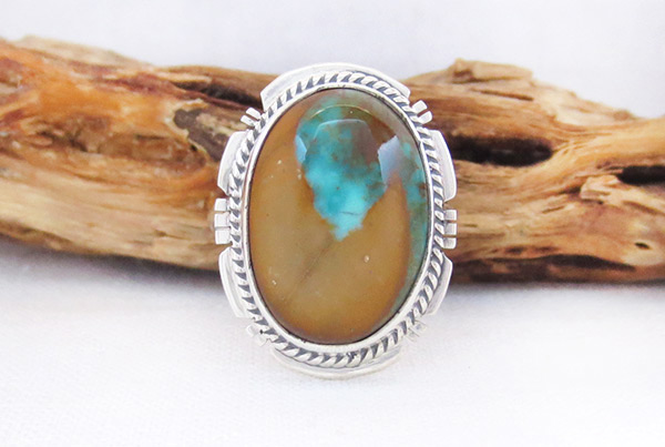 Boulder Turquoise & Sterling Silver Ring Sz 7 Native American Jewelry - 3318sn