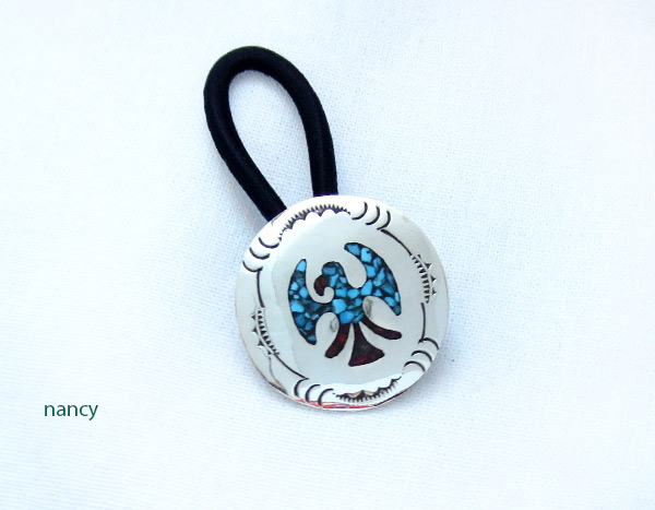 Image 0 of Turquoise Coral Inlay & Sterling Silver Pony Tail Holder Navajo - 4107rb