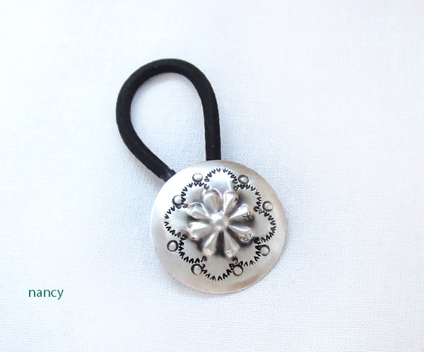 Handcrafted Stamped Sterling Silver Pony Tail Holder Navajo - 4125rb