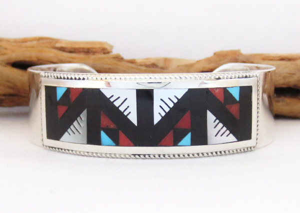 Image 0 of     Turquoise Coral Mosaic Inlay Bracelet Zuni Native American Jewelry - 4109rb