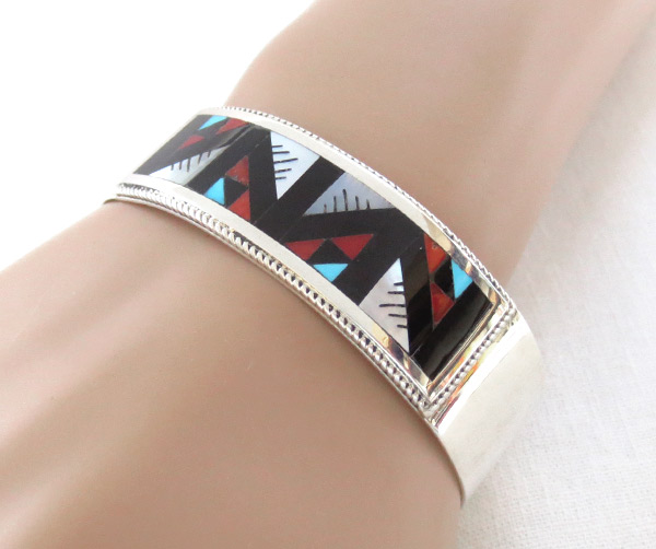 Image 1 of     Turquoise Coral Mosaic Inlay Bracelet Zuni Native American Jewelry - 4109rb