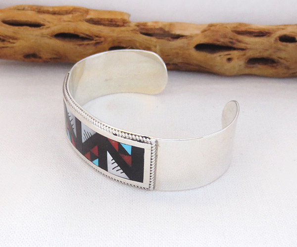 Image 3 of     Turquoise Coral Mosaic Inlay Bracelet Zuni Native American Jewelry - 4109rb