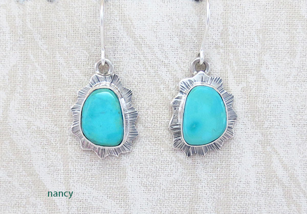 Turquoise & Sterling Silver Earrings Native American Jewelry - 5107sn
