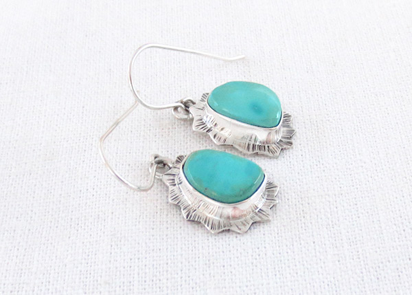 Image 1 of   Turquoise & Sterling Silver Earrings Native American Jewelry - 5107sn