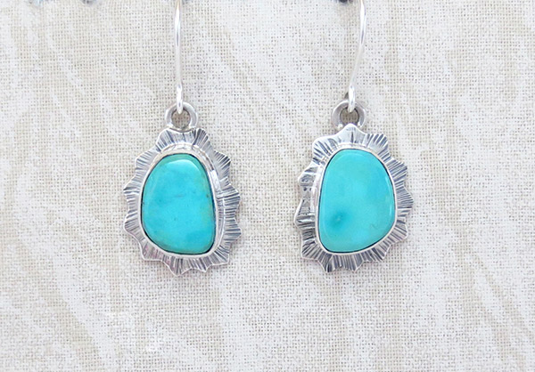 Image 0 of   Turquoise & Sterling Silver Earrings Native American Jewelry - 5107sn