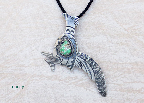 Image 1 of Turquoise & Sterling Silver Roadrunner Pendant / Pin Navajo Jewelry - 5106sw