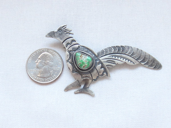 Image 0 of Turquoise & Sterling Silver Roadrunner Pendant / Pin Navajo Jewelry - 5106sw