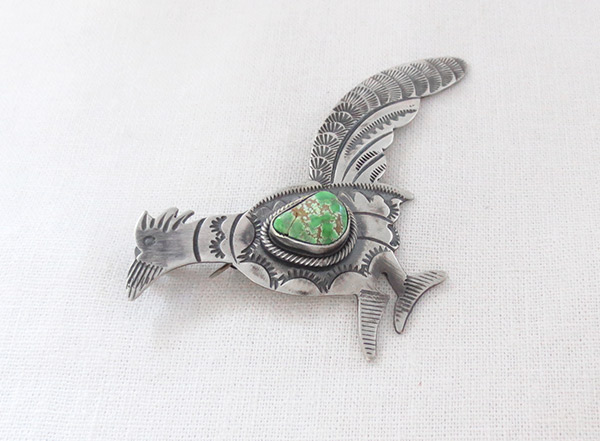 Image 2 of Turquoise & Sterling Silver Roadrunner Pendant / Pin Navajo Jewelry - 5106sw