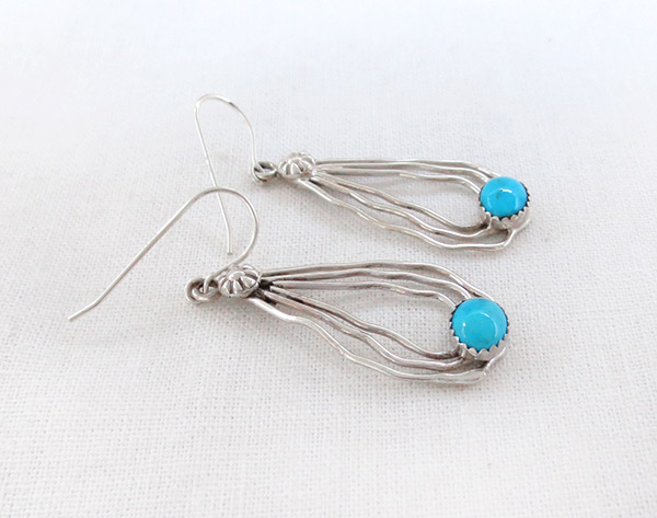 Image 1 of     Sterling Silver Wire & Turquoise Earrings Native American Jewelry - 4350sn